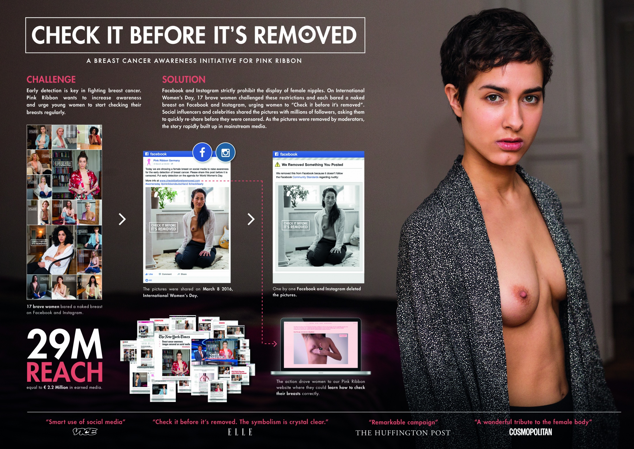 Image Media for Check it before it's removed: Naked breasts on Facebook against breast cancer.