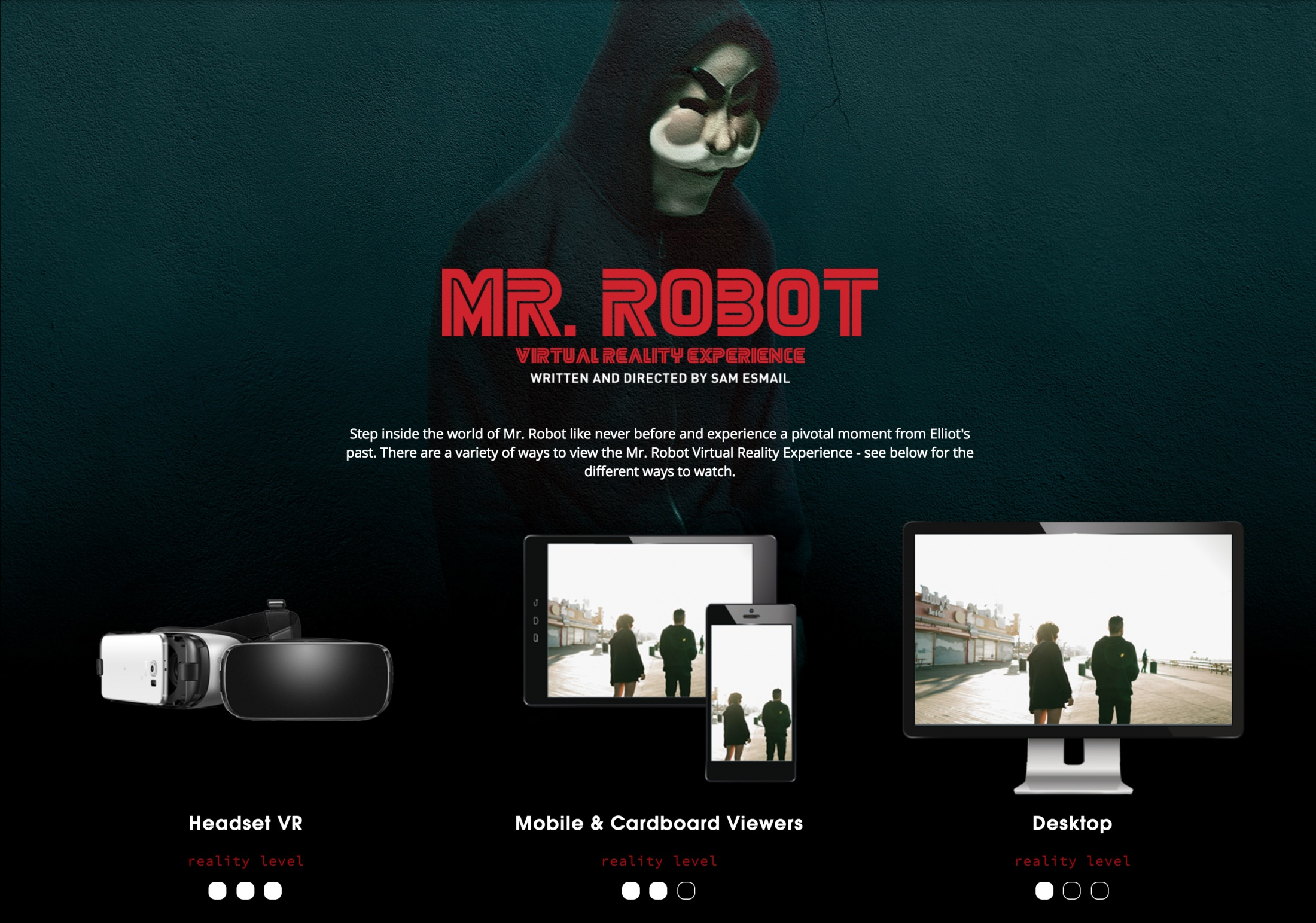 Image Media for The Mr. Robot Virtual Reality Experience