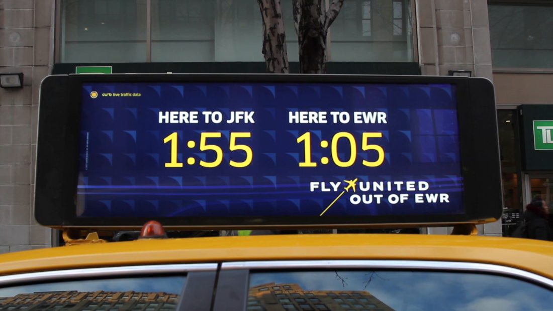 Thumbnail for United Airlines EWR Real-Time Data Taxi Top Campaign