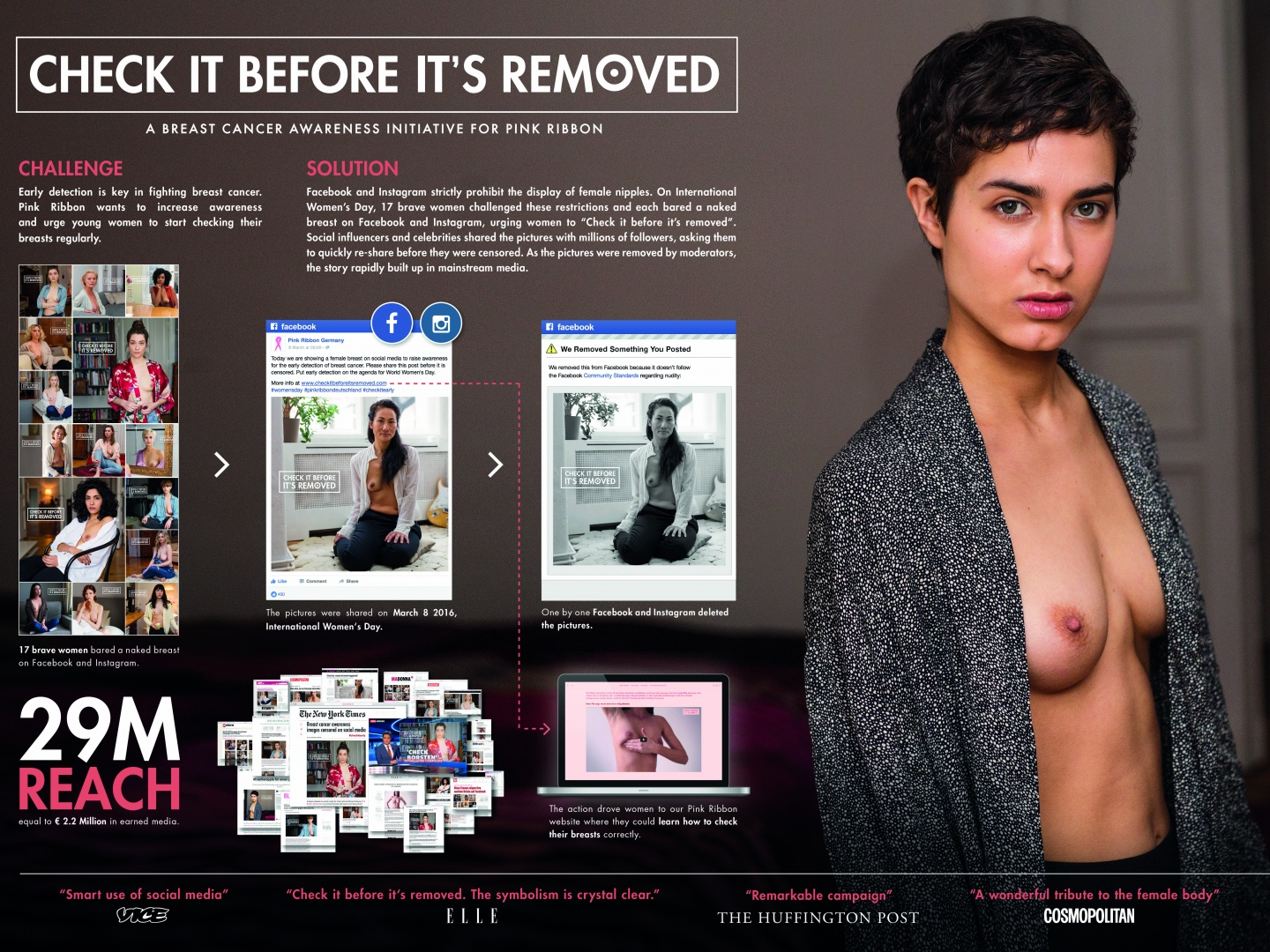 Check it before it's removed: Naked breasts on Facebook against breast cancer. Thumbnail