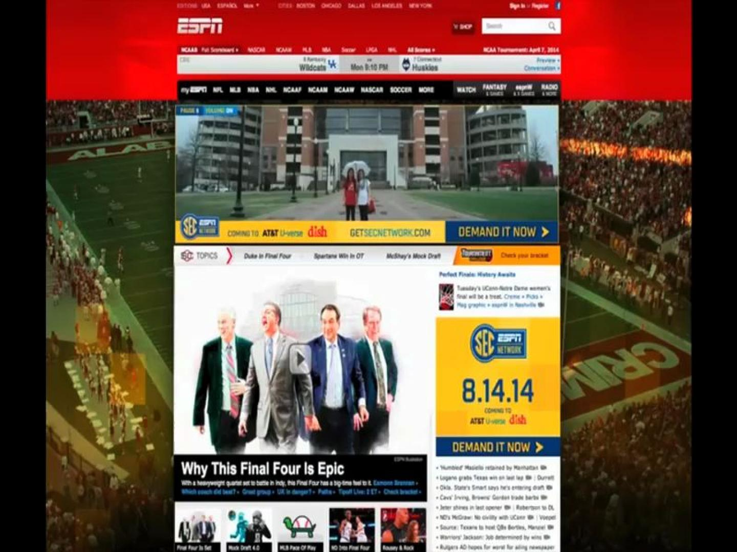 SEC Network Brand Campaign – April Homepage Takeovers Thumbnail