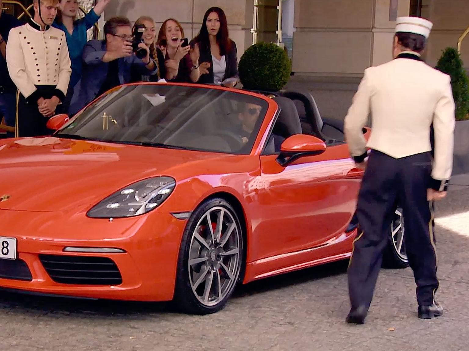 Image for Patrick Dempsey's way of arriving at a hotel driveway