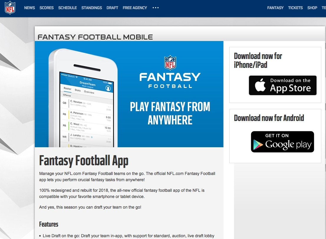 Thumbnail for NFL.com Fantasy Football App