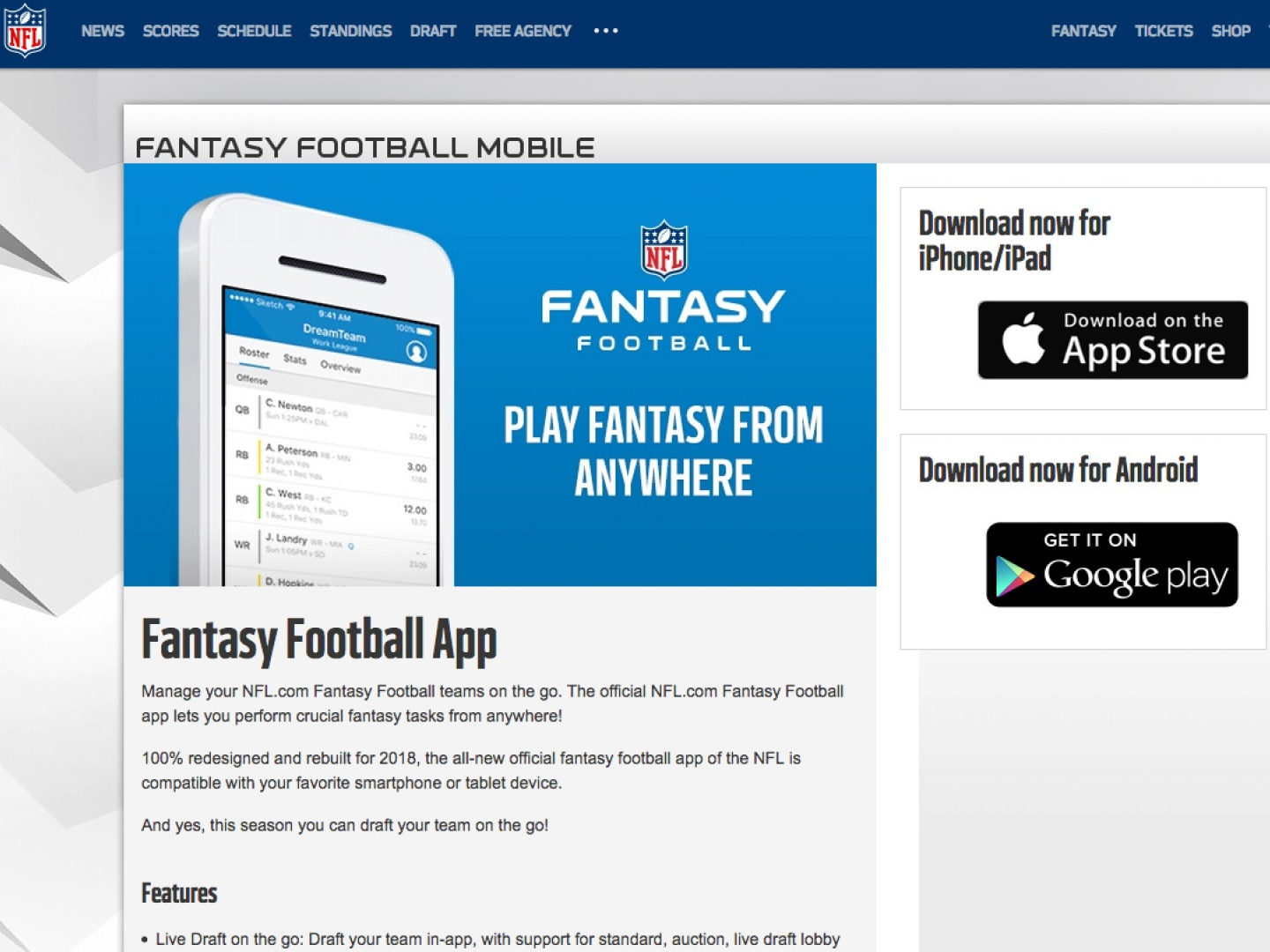NFL.com Fantasy Football App Thumbnail