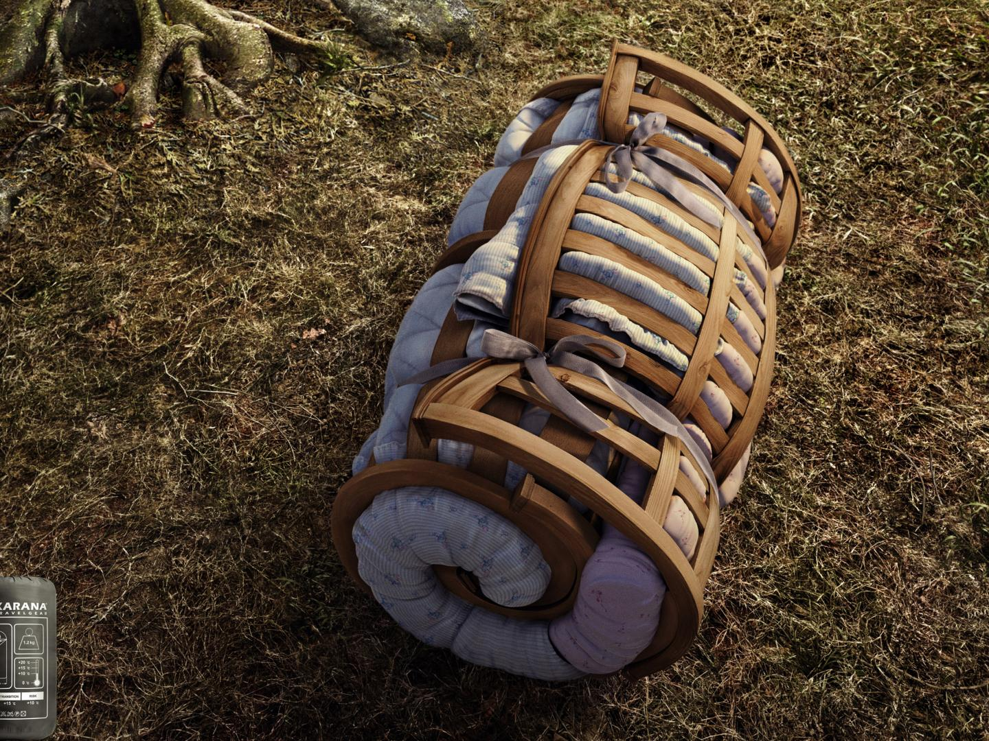 Rolled up bed : Wooden Bed Thumbnail